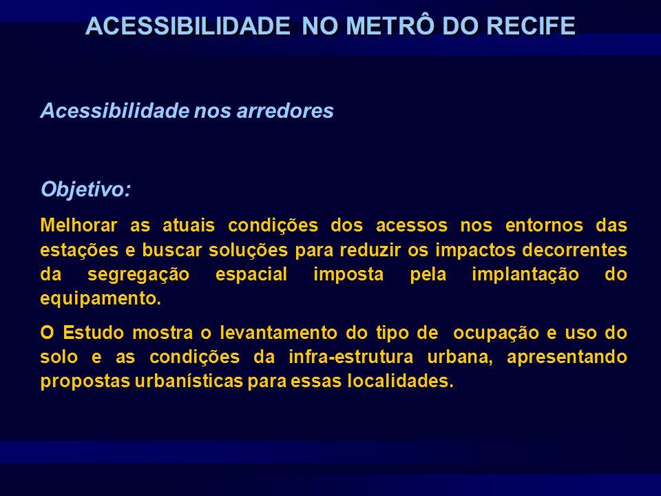 Acessibilidade nos arredores Fases do Estudo: Uso do Solo Infra-estrutura do Entorno Propostas Urbanísticas ACESSIBILIDADE NO METRÔ DO RECIFE