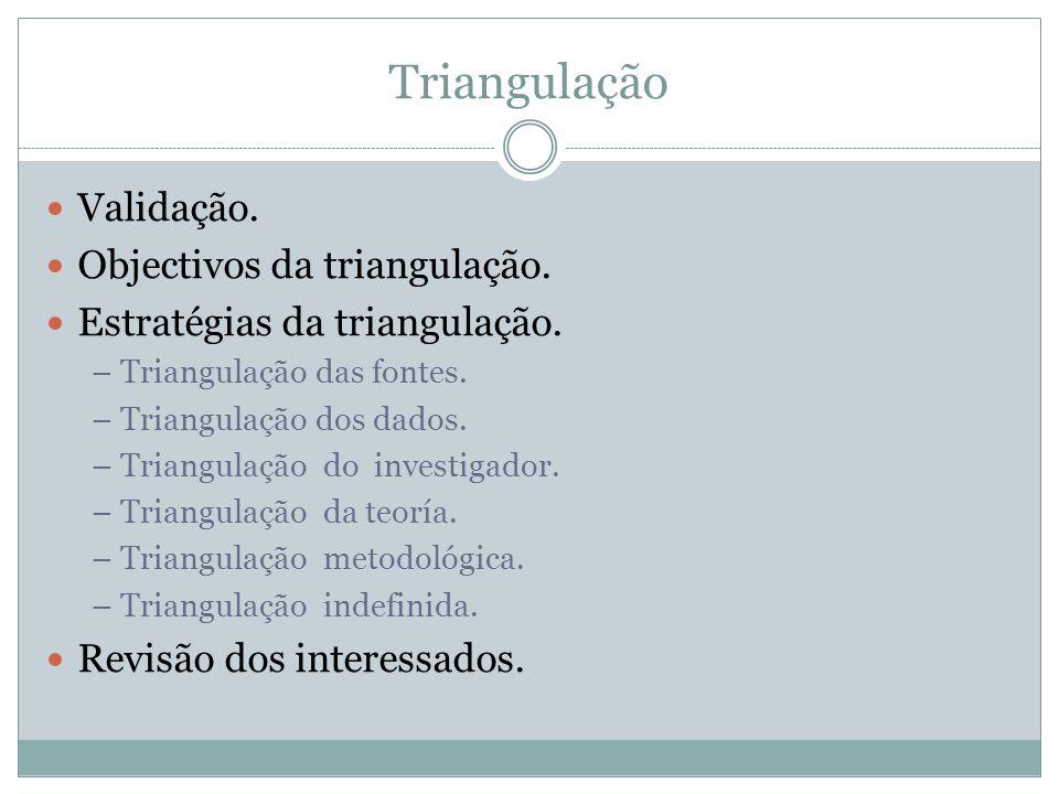 Triangulação Validação. Objectivos da triangulação. Estratégias da triangulação. – Triangulação das fontes. – Triangulação dos dados. – Triangulação d