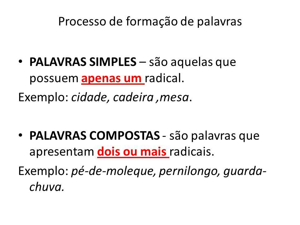 Processo de formação de palavras PALAVRAS SIMPLES – são aquelas que possuem apenas um radical. Exemplo: cidade, cadeira,mesa. PALAVRAS COMPOSTAS - são