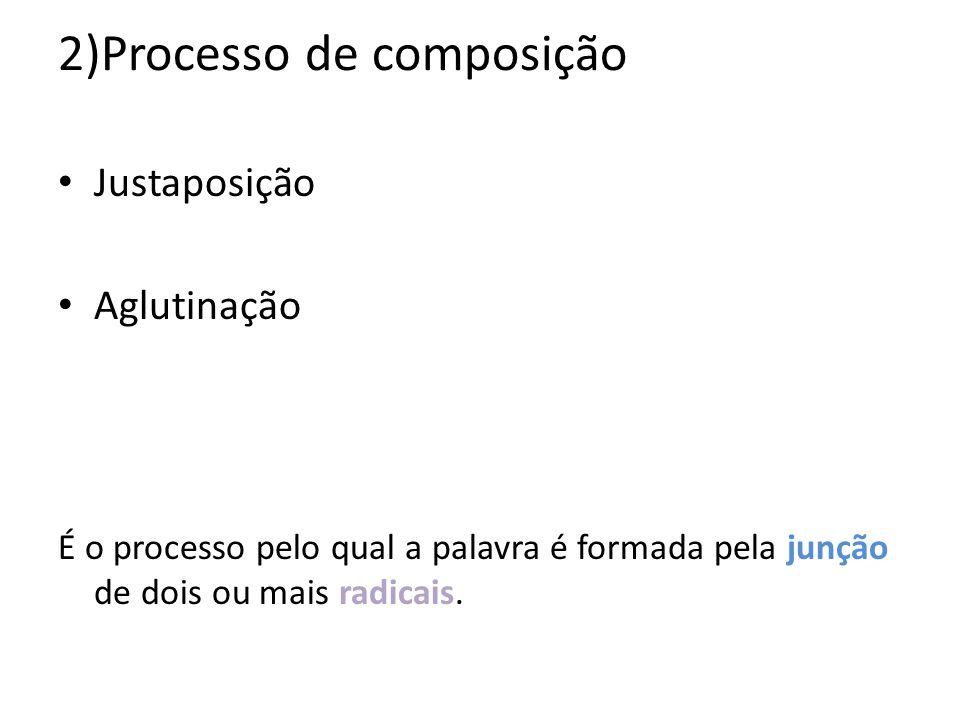 2)Processo de composição Justaposição Aglutinação É o processo pelo qual a palavra é formada pela junção de dois ou mais radicais.