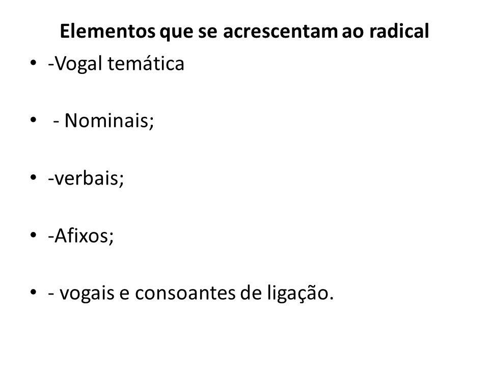 Elementos que se acrescentam ao radical -Vogal temática - Nominais; -verbais; -Afixos; - vogais e consoantes de ligação.