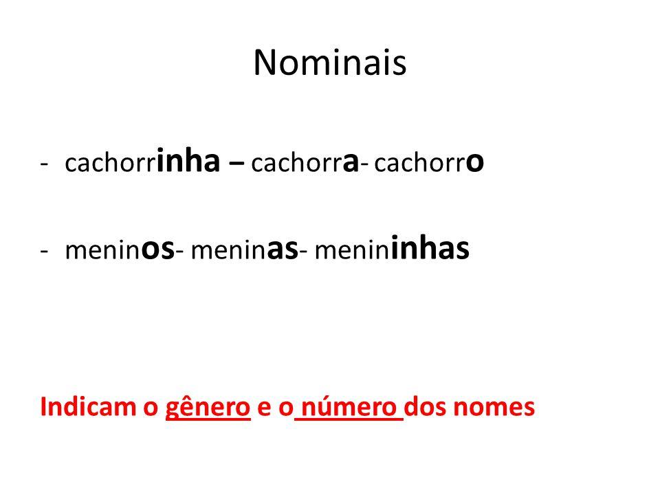 Nominais -cachorr inha – cachorr a - cachorr o -menin os - menin as - menin inhas Indicam o gênero e o número dos nomes