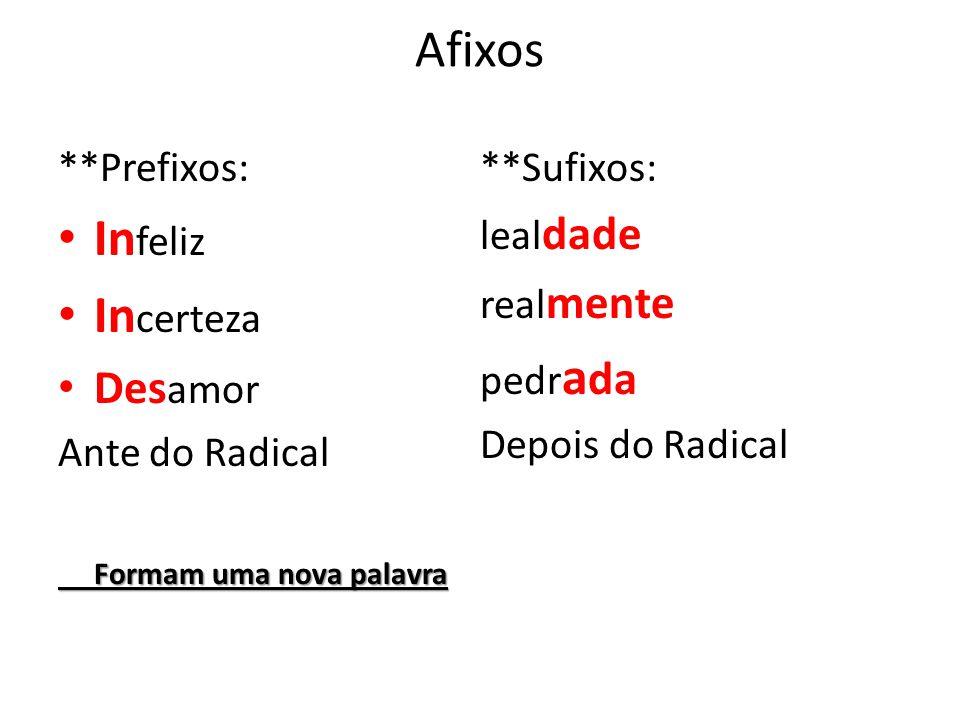 Afixos **Prefixos: In feliz In certeza Des amor Ante do Radical Formam uma nova palavra **Sufixos: leal dade real mente pedr a da Depois do Radical