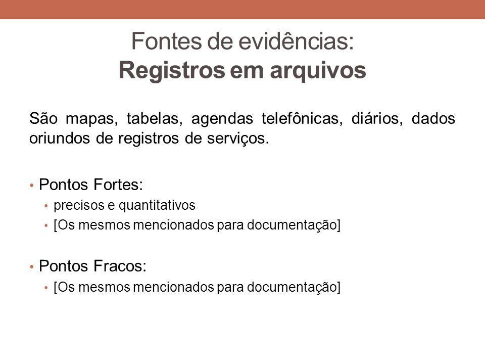 Fontes de evidências: Registros em arquivos São mapas, tabelas, agendas telefônicas, diários, dados oriundos de registros de serviços. Pontos Fortes:
