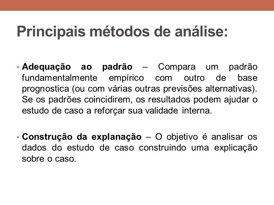 Principais métodos de análise: Adequação ao padrão – Compara um padrão fundamentalmente empírico com outro de base prognostica (ou com várias outras previsões alternativas).