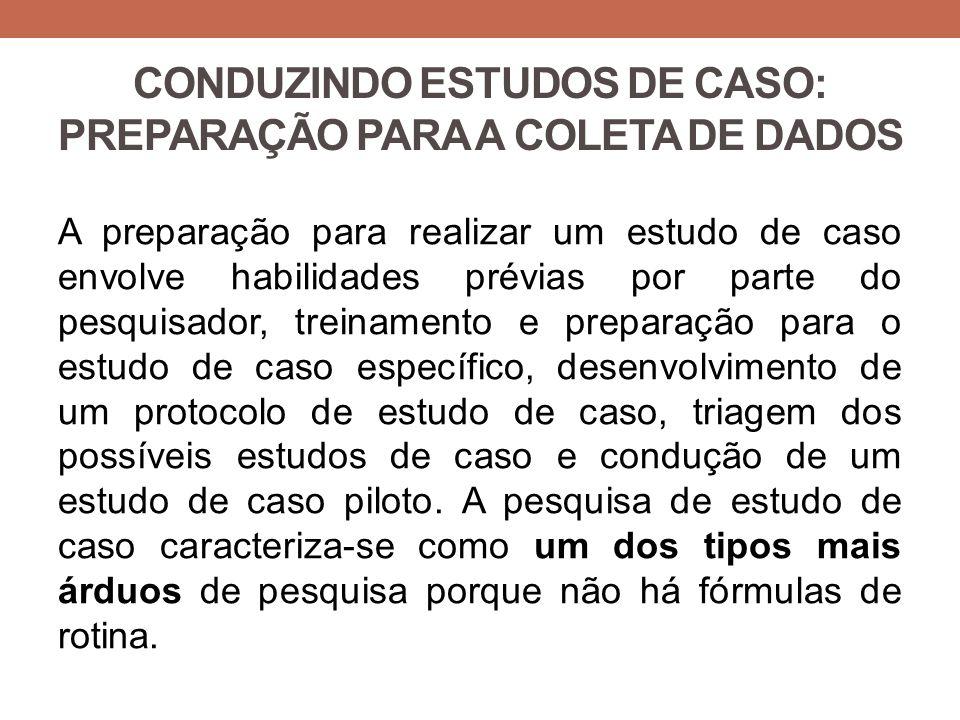 CONDUZINDO ESTUDOS DE CASO: PREPARAÇÃO PARA A COLETA DE DADOS A preparação para realizar um estudo de caso envolve habilidades prévias por parte do pe