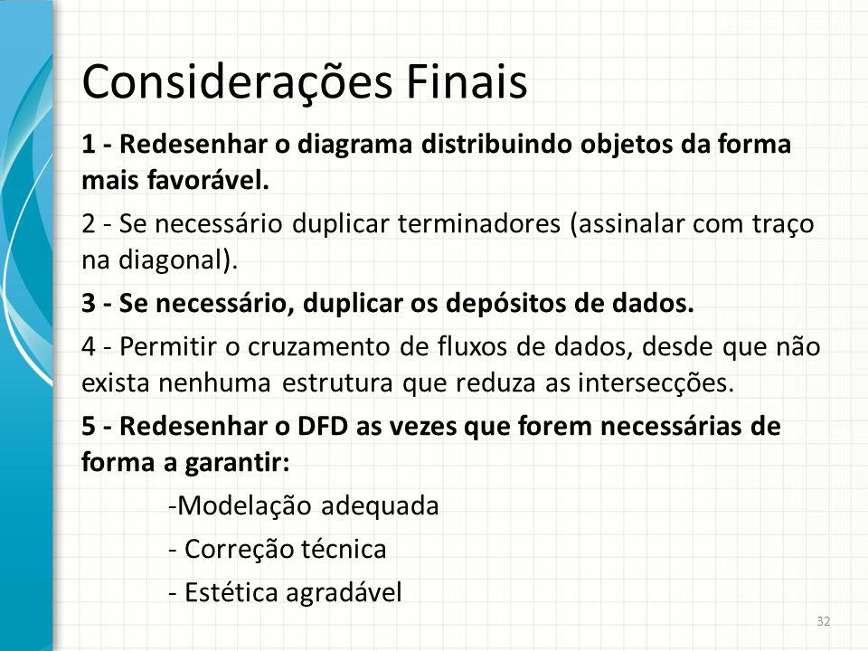 Considerações Finais 1 - Redesenhar o diagrama distribuindo objetos da forma mais favorável. 2 - Se necessário duplicar terminadores (assinalar com tr