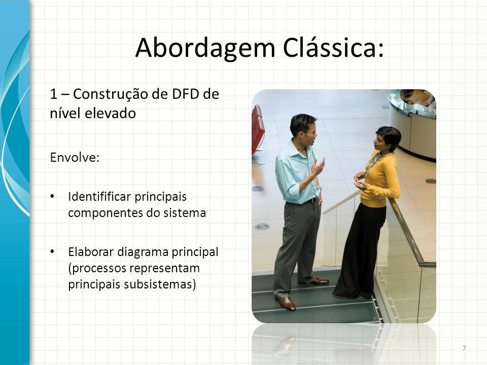 Abordagem Clássica: 1 – Construção de DFD de nível elevado Envolve: Identifificar principais componentes do sistema Elaborar diagrama principal (proce