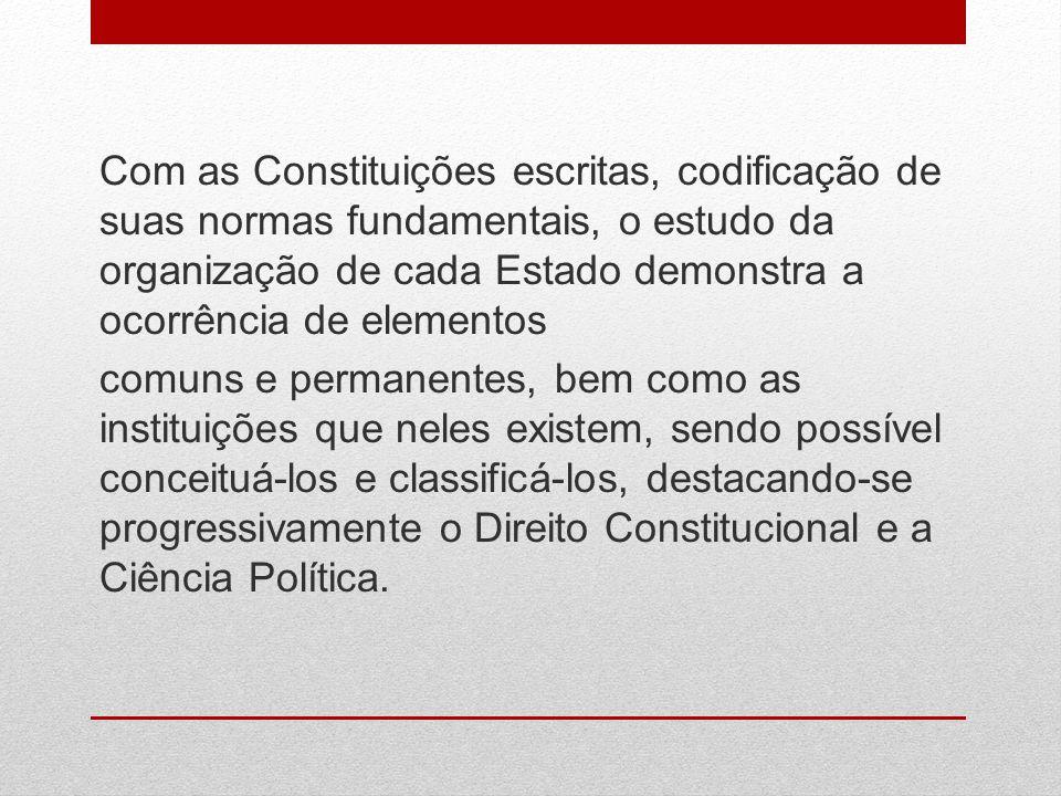 Com as Constituições escritas, codificação de suas normas fundamentais, o estudo da organização de cada Estado demonstra a ocorrência de elementos com
