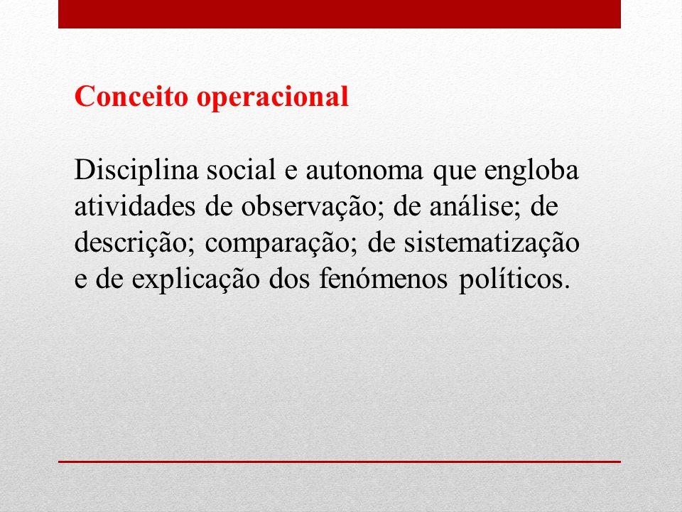 Conceito operacional Disciplina social e autonoma que engloba atividades de observação; de análise; de descrição; comparação; de sistematização e de explicação dos fenómenos políticos.