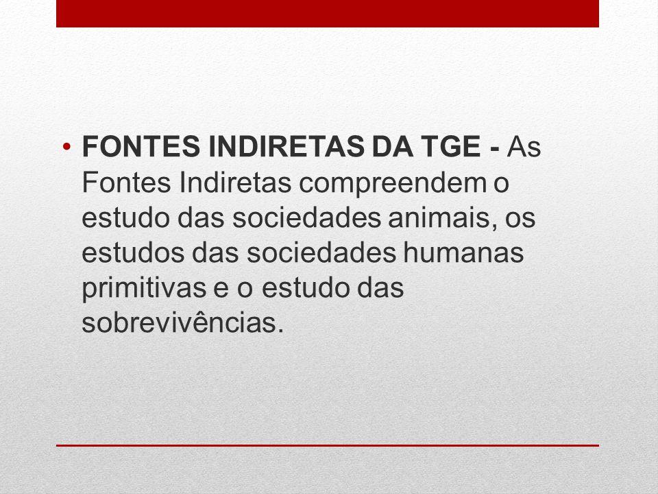 FONTES INDIRETAS DA TGE - As Fontes Indiretas compreendem o estudo das sociedades animais, os estudos das sociedades humanas primitivas e o estudo das