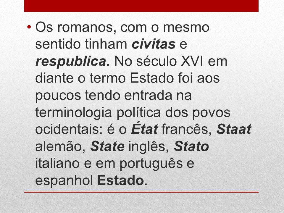 Os romanos, com o mesmo sentido tinham civitas e respublica. No século XVI em diante o termo Estado foi aos poucos tendo entrada na terminologia polít