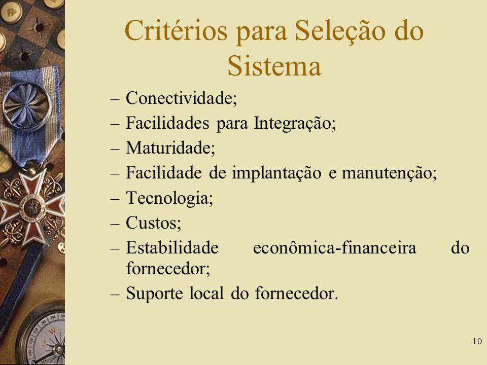 10 Critérios para Seleção do Sistema – Conectividade; – Facilidades para Integração; – Maturidade; – Facilidade de implantação e manutenção; – Tecnolo
