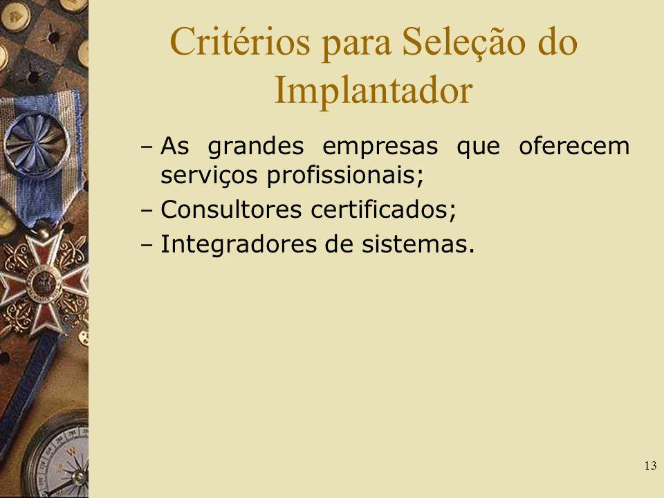 13 Critérios para Seleção do Implantador – As grandes empresas que oferecem serviços profissionais; – Consultores certificados; – Integradores de sist