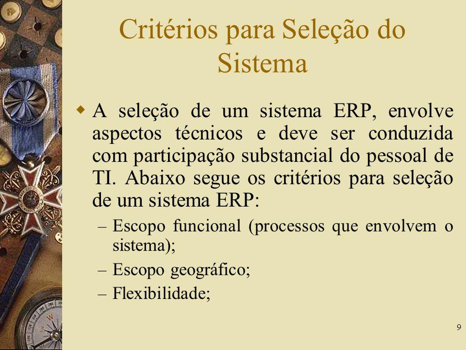 9 Critérios para Seleção do Sistema A seleção de um sistema ERP, envolve aspectos técnicos e deve ser conduzida com participação substancial do pessoa