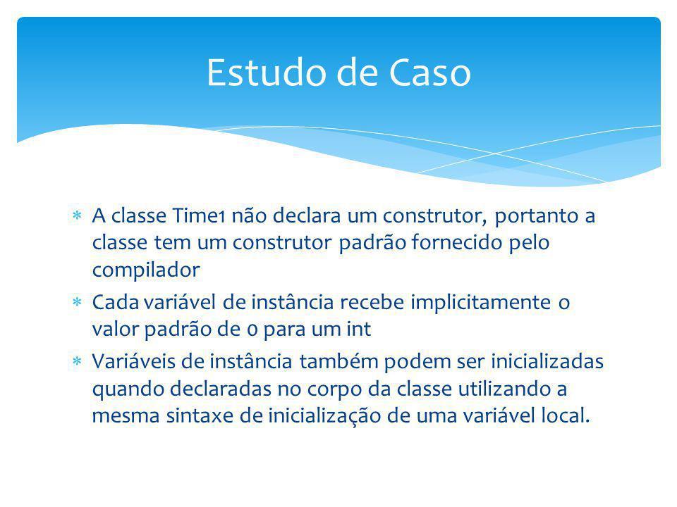 A classe Time1 não declara um construtor, portanto a classe tem um construtor padrão fornecido pelo compilador Cada variável de instância recebe impli
