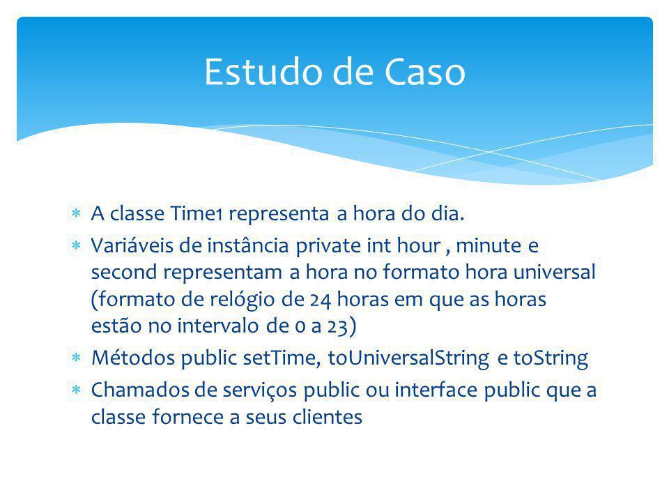 A classe Time1 representa a hora do dia. Variáveis de instância private int hour, minute e second representam a hora no formato hora universal (format