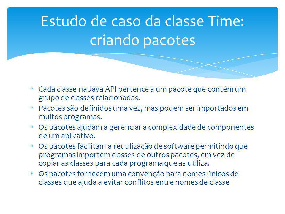 Cada classe na Java API pertence a um pacote que contém um grupo de classes relacionadas. Pacotes são definidos uma vez, mas podem ser importados em m