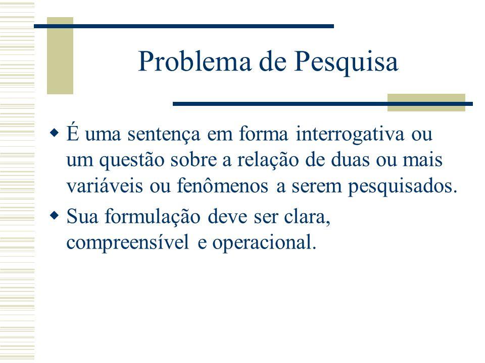 Problema de Pesquisa É uma sentença em forma interrogativa ou um questão sobre a relação de duas ou mais variáveis ou fenômenos a serem pesquisados. S