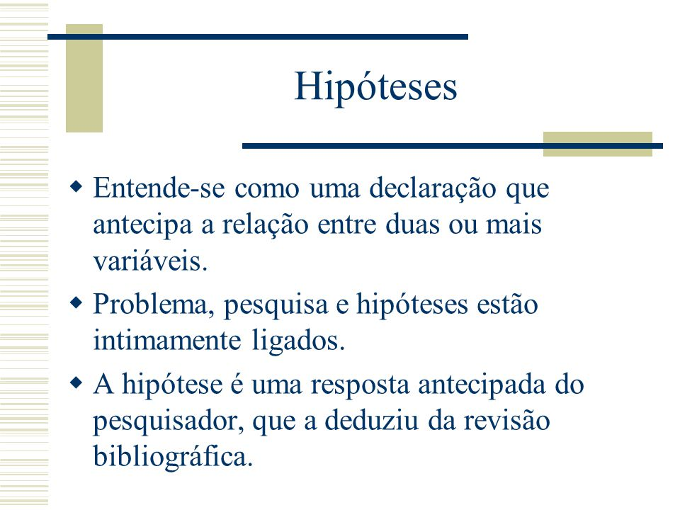 Hipóteses Entende-se como uma declaração que antecipa a relação entre duas ou mais variáveis. Problema, pesquisa e hipóteses estão intimamente ligados