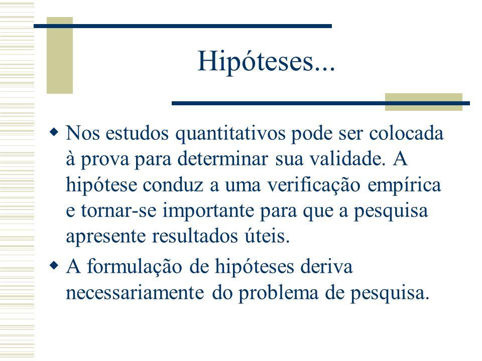 Hipóteses... Nos estudos quantitativos pode ser colocada à prova para determinar sua validade. A hipótese conduz a uma verificação empírica e tornar-s