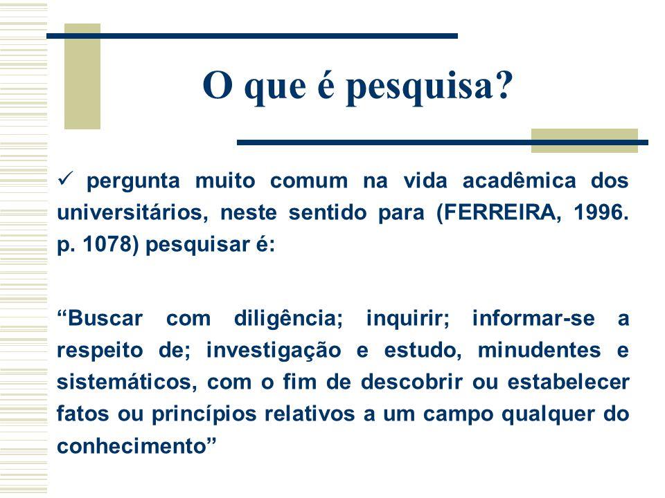 O que é pesquisa? pergunta muito comum na vida acadêmica dos universitários, neste sentido para (FERREIRA, 1996. p. 1078) pesquisar é: Buscar com dili