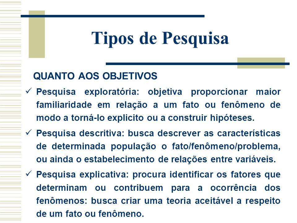 Tipos de Pesquisa QUANTO AOS PROCEDIMENTOS DE COLETA Pesquisa documental: utiliza documentos como fonte de informação para a coleta de dados.