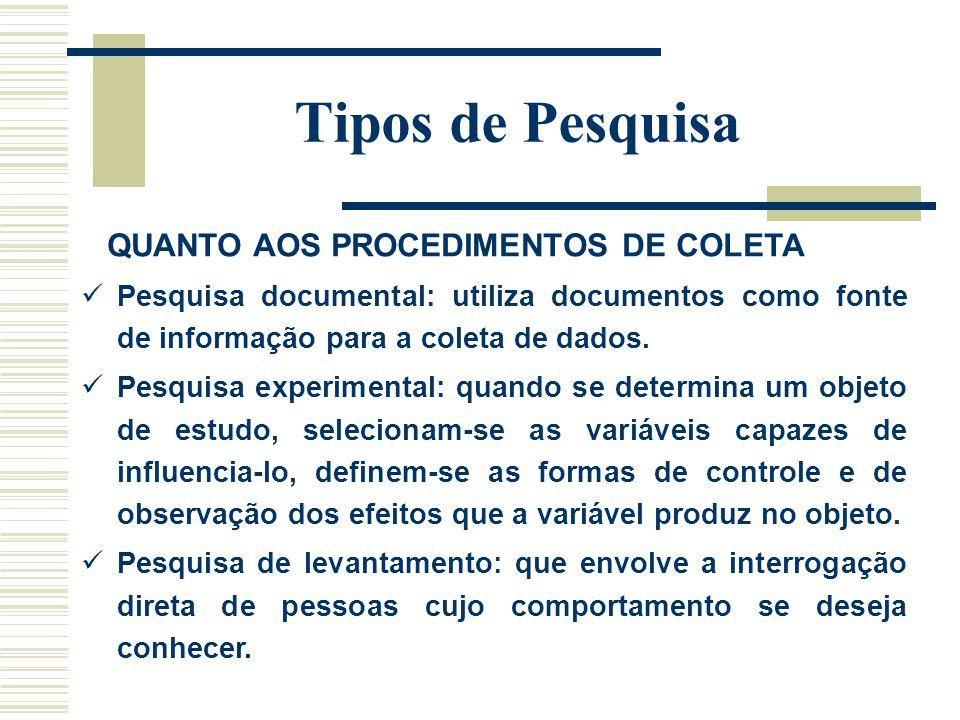 Tipos de Pesquisa QUANTO AOS PROCEDIMENTOS DE COLETA Pesquisa documental: utiliza documentos como fonte de informação para a coleta de dados. Pesquisa