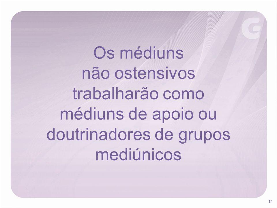 15 Os médiuns não ostensivos trabalharão como médiuns de apoio ou doutrinadores de grupos mediúnicos