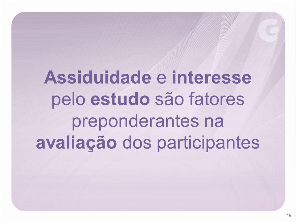 16 Assiduidade e interesse pelo estudo são fatores preponderantes na avaliação dos participantes