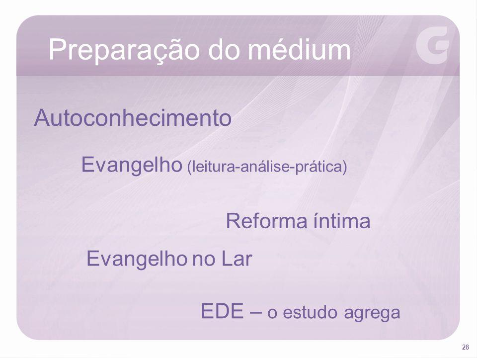 28 Preparação do médium Autoconhecimento Evangelho (leitura-análise-prática) Reforma íntima Evangelho no Lar EDE – o estudo agrega