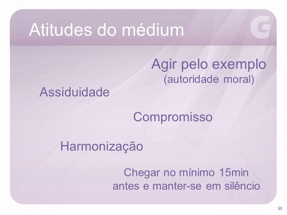 29 Atitudes do médium Agir pelo exemplo (autoridade moral) Assiduidade Compromisso Harmonização Chegar no mínimo 15min antes e manter-se em silêncio