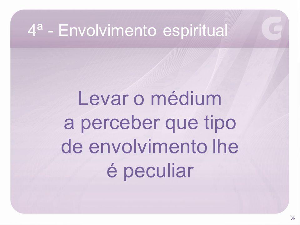 36 4ª - Envolvimento espiritual Levar o médium a perceber que tipo de envolvimento lhe é peculiar