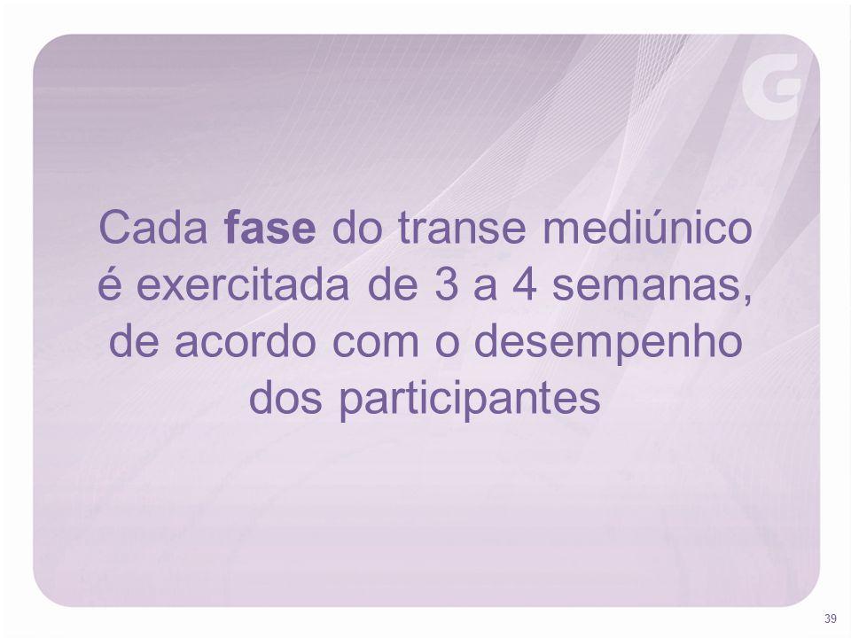 39 Cada fase do transe mediúnico é exercitada de 3 a 4 semanas, de acordo com o desempenho dos participantes