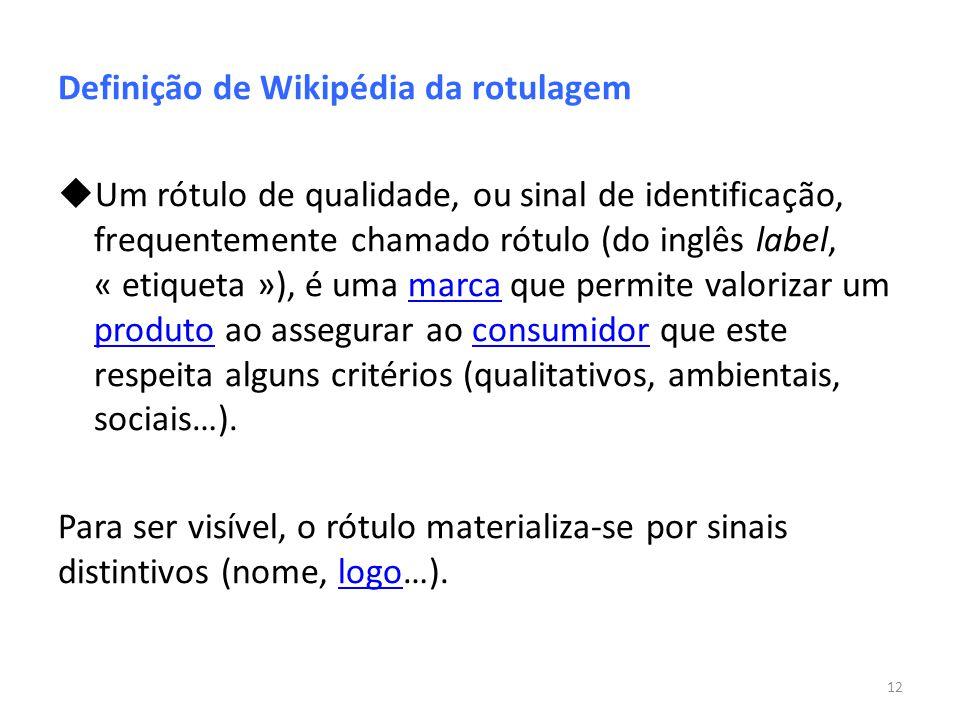 Definição de Wikipédia da rotulagem Um rótulo de qualidade, ou sinal de identificação, frequentemente chamado rótulo (do inglês label, « etiqueta »),