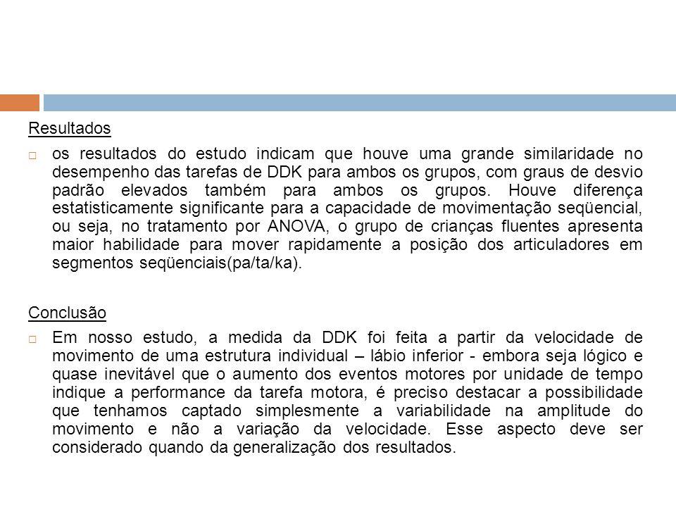 Resultados os resultados do estudo indicam que houve uma grande similaridade no desempenho das tarefas de DDK para ambos os grupos, com graus de desvi