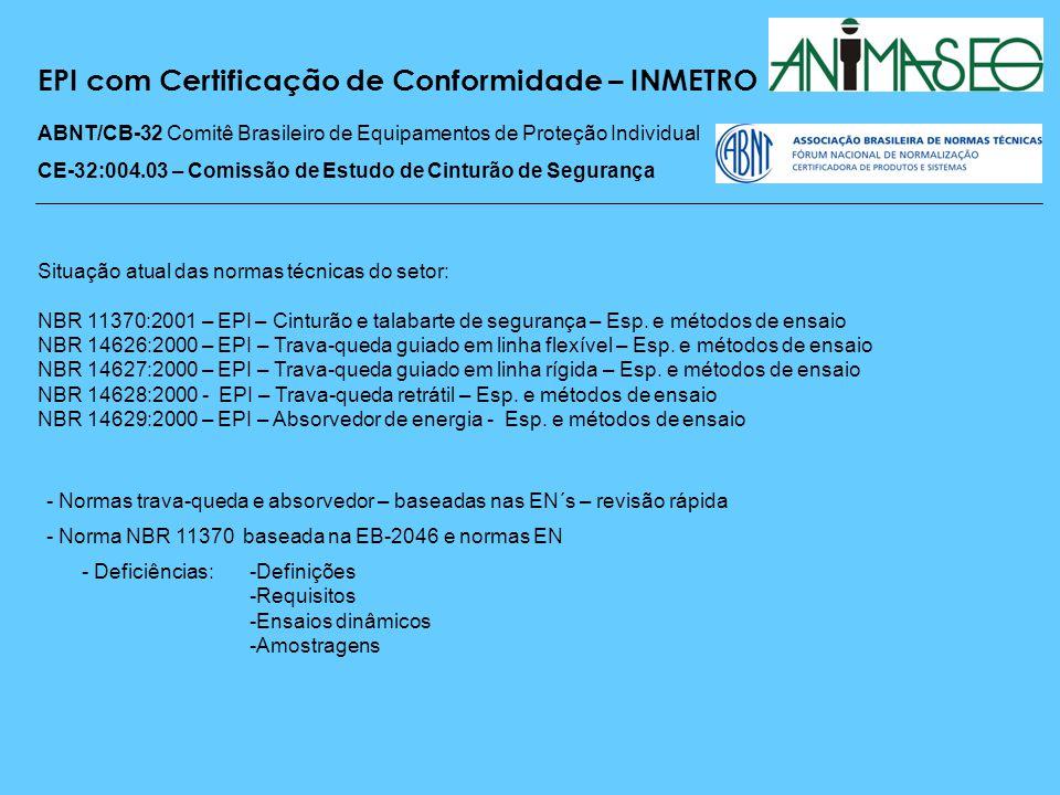 EPI com Certificação de Conformidade – INMETRO ABNT/CB-32 Comitê Brasileiro de Equipamentos de Proteção Individual CE-32:004.03 – Comissão de Estudo de Cinturão de Segurança Iniciados os trabalhos de revisão da NBR 11370 em janeiro de 2008, baseados nas normas EN Normas revisadas: - Cinturão tipo para-quedista - Cinturão Abdominal - Talabartes de segurança - Conectores (não terminada) RAC – Regulamento da Avaliação de Conformidade Principais mudanças: - ISO 9000 - OCP e Laboratórios - Auditorias de manutenção anuais - Auditorias iniciais e de manutenção - linha de produção e mercado - Amostragem maior – prova, contra prova e testemunha - Inviabilidade de equipamentos personalizados: custos + linha de produção - Implantação - 12 meses para fabricantes e 18 meses para revendas - RAC baseado na NBR 11370 – problemas com amostragem