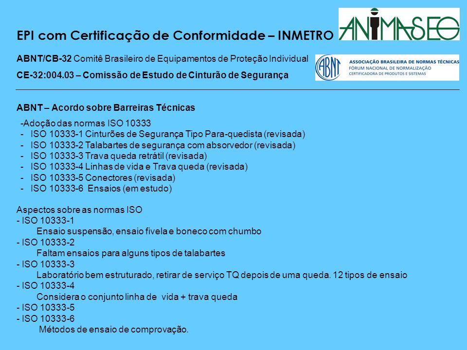 EPI com Certificação de Conformidade – INMETRO ABNT/CB-32 Comitê Brasileiro de Equipamentos de Proteção Individual CE-32:004.03 – Comissão de Estudo de Cinturão de Segurança Visão geral das normas ISO - Países membros da ISO TC94/SC4, não adotam - Normas ISO se adotadas, provocarão uma barreira técnica - Muitas referências normativas baseadas na ISO - Não existem laboratórios brasileiros capacitados - Custo muito elevado para a certificação