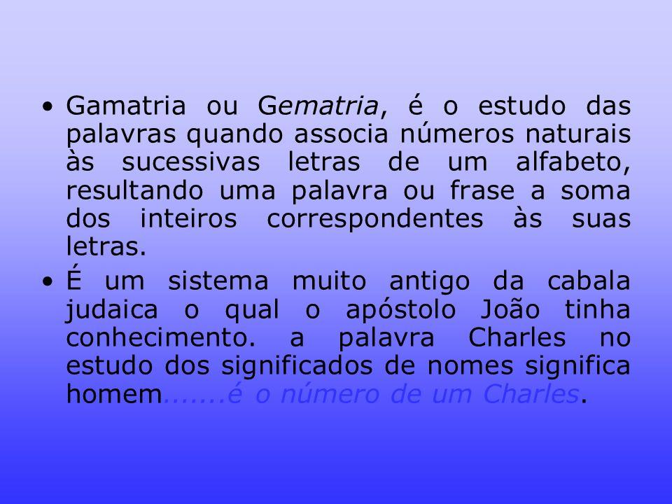 Gamatria ou Gematria, é o estudo das palavras quando associa números naturais às sucessivas letras de um alfabeto, resultando uma palavra ou frase a s