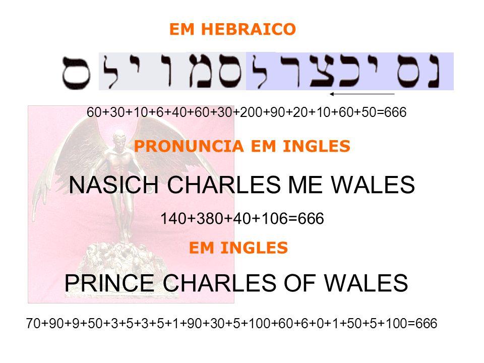 PRONUNCIA EM INGLES NASICH CHARLES ME WALES 140+380+40+106=666 60+30+10+6+40+60+30+200+90+20+10+60+50=666 PRINCE CHARLES OF WALES 70+90+9+50+3+5+3+5+1