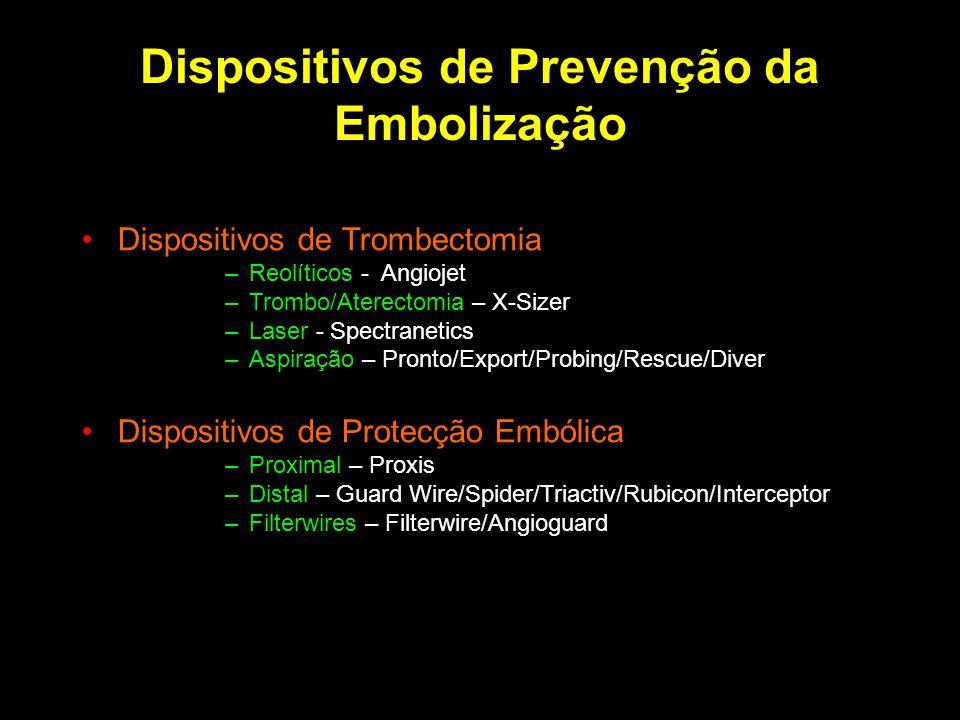 Dispositivos de Prevenção da Embolização Dispositivos de Trombectomia –Reolíticos - Angiojet –Trombo/Aterectomia – X-Sizer –Laser - Spectranetics –Asp