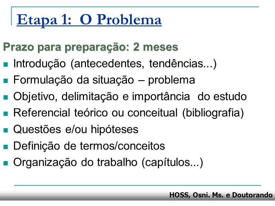 HOSS, Osni. Ms. e Doutorando Etapa 1: O Problema Prazo para preparação: 2 meses Introdução (antecedentes, tendências...) Formulação da situação – prob