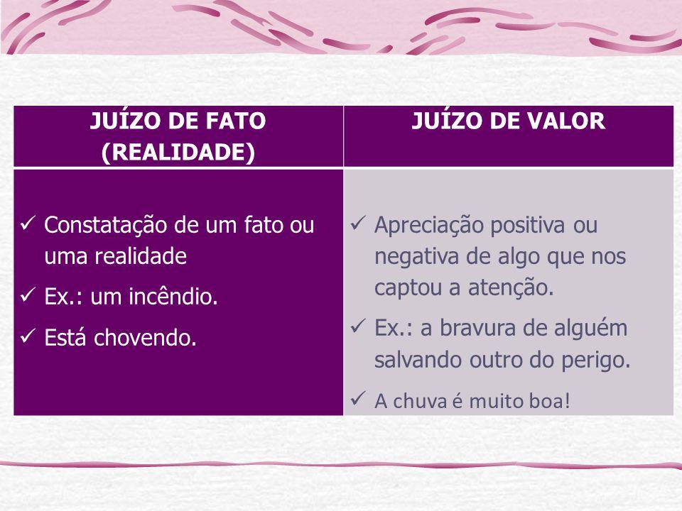 JUÍZO DE FATO (REALIDADE) JUÍZO DE VALOR Constatação de um fato ou uma realidade Ex.: um incêndio.