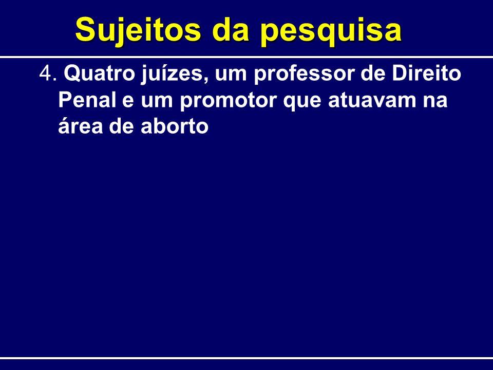 Sujeitos da pesquisa 4. Quatro juízes, um professor de Direito Penal e um promotor que atuavam na área de aborto