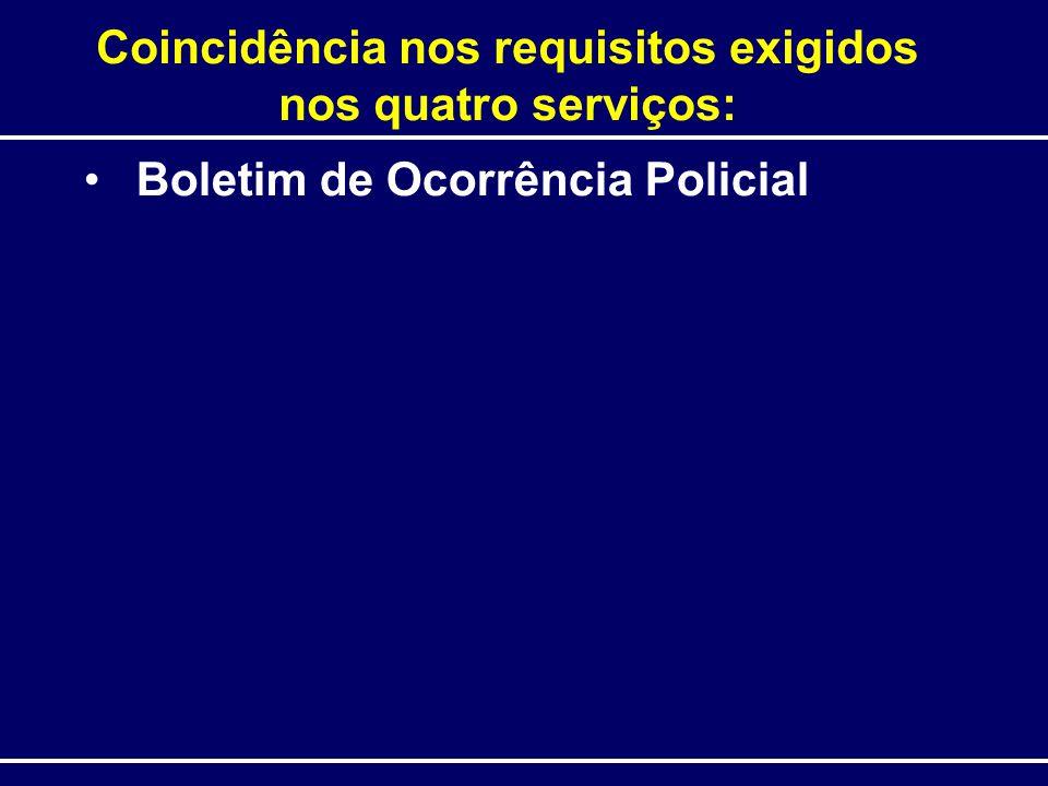 Coincidência nos requisitos exigidos nos quatro serviços: Boletim de Ocorrência Policial