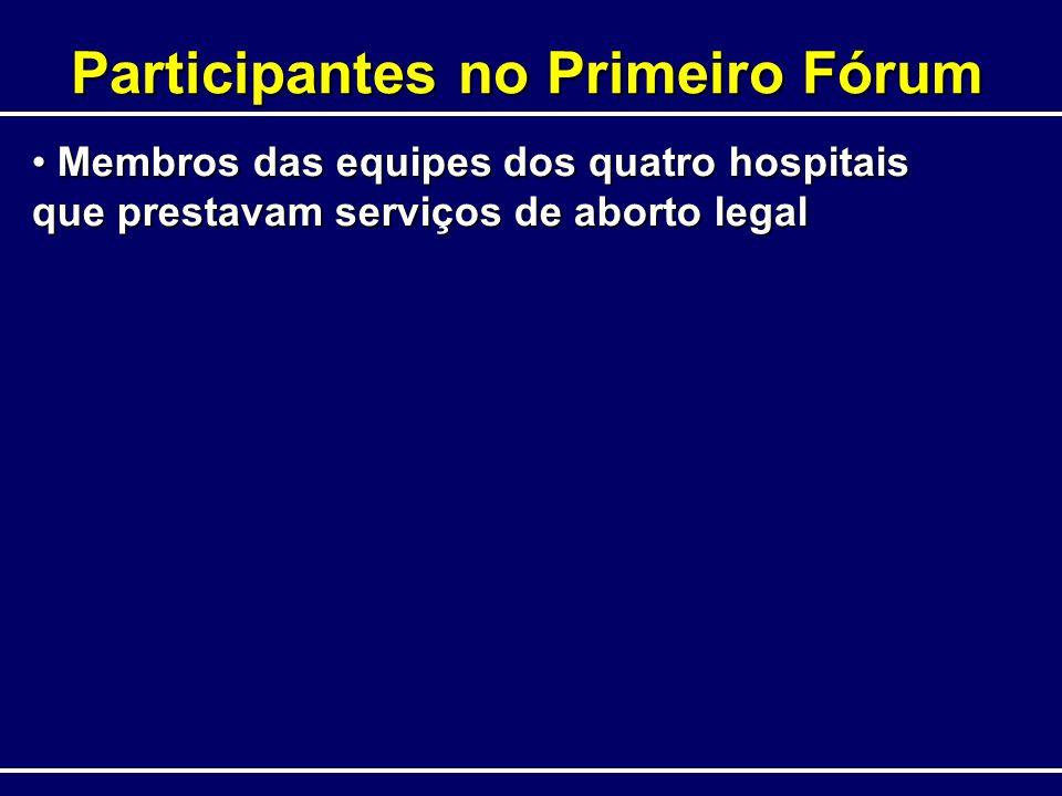 Participantes no Primeiro Fórum Membros das equipes dos quatro hospitais que prestavam serviços de aborto legal Membros das equipes dos quatro hospita
