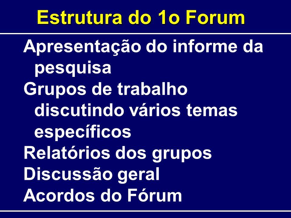 Estrutura do 1o Forum Apresentação do informe da pesquisa Grupos de trabalho discutindo vários temas específicos Relatórios dos grupos Discussão geral