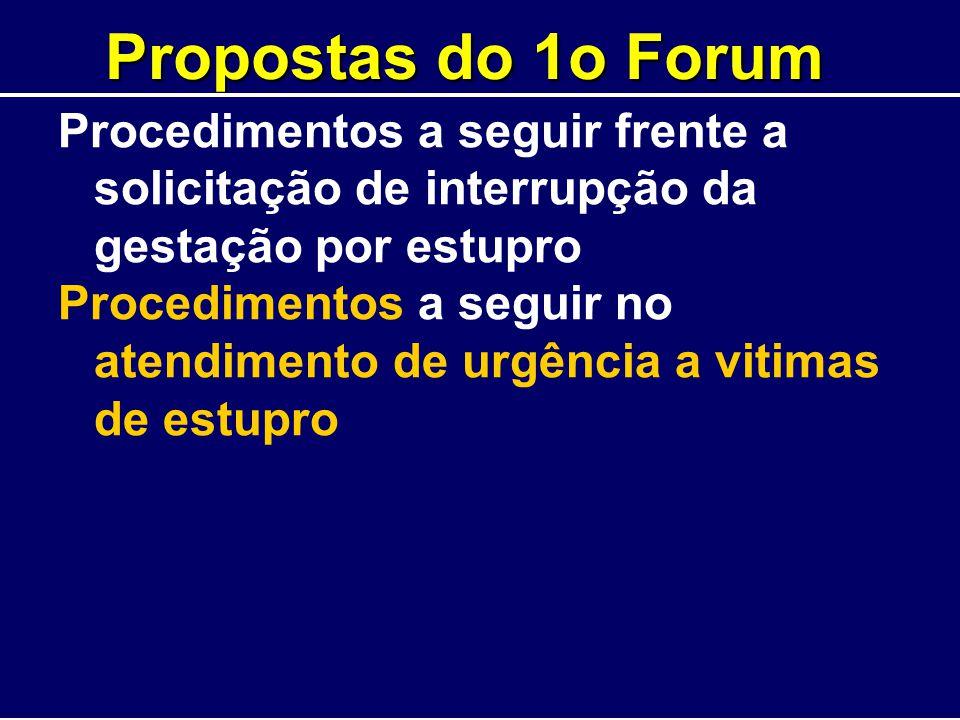 Propostas do 1o Forum Procedimentos a seguir frente a solicitação de interrupção da gestação por estupro Procedimentos a seguir no atendimento de urgê