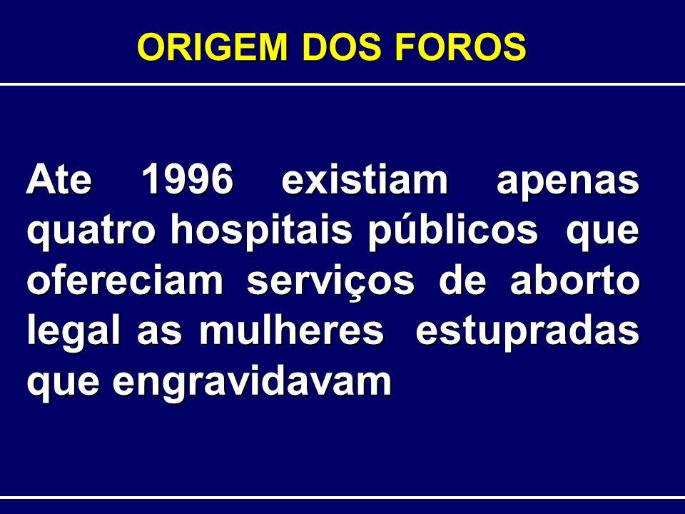 ORIGEM DOS FOROS Ate 1996 existiam apenas quatro hospitais públicos que ofereciam serviços de aborto legal as mulheres estupradas que engravidavam