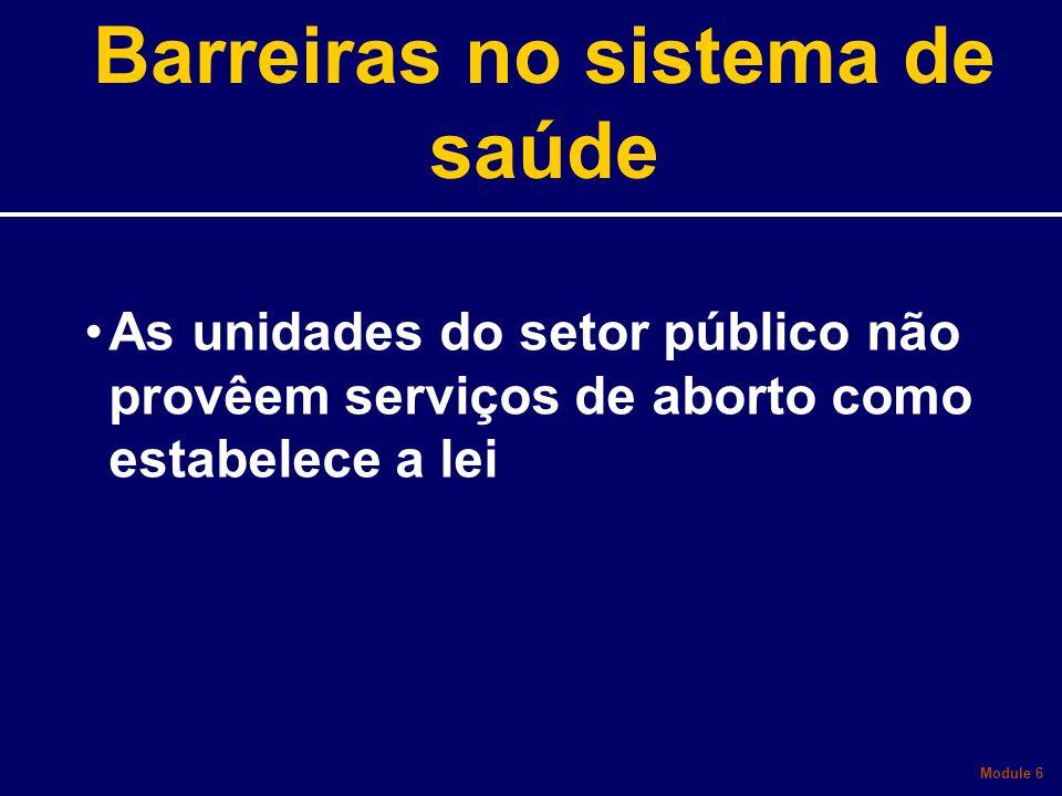 As unidades do setor público não provêem serviços de aborto como estabelece a lei Module 6 Barreiras no sistema de saúde